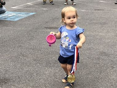 Eliza Forsburg, age 2, received the Top Individual Fundraiser Award at the 2018 ZERO Prostate Cancer Run/Walk - Harrisburg on Friday night. The event raises funds to fight prostate cancer and raise awareness. This year's run/walk raised more than $130,000 locally.