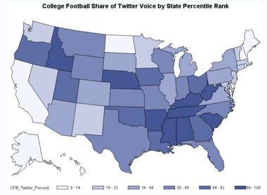 "This graphic shows states with greatest percentage of Tweets including the phrase ""college football."""
