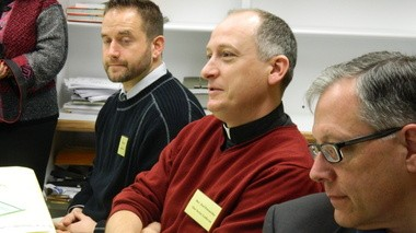 From left, Susquehanna Township School District Athletic Director Michael Knill, the Rev. Joel Petruschke of Our Savior Lutheran Church and the Rev. John Stoeckle of First Alliance Church introduce themselves at the district's first faith-based breakfast.