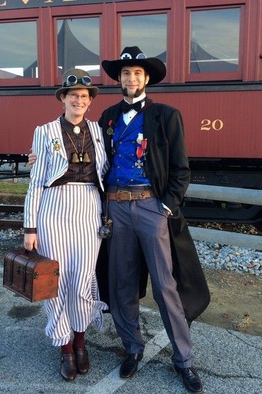 Sarah Beetham, 29, and Charlie Mahoney, 31, both of Wilmington, Delaware were Steampunk UnLimited's couples costume contest winners on Nov. 16, 2013.