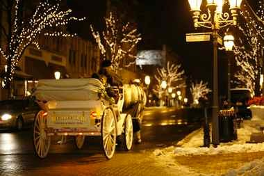 Horse-drawn carries ply the streets of downtown Bethlehem.