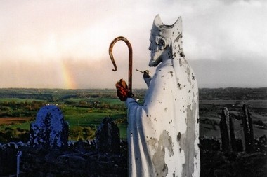 This photo is of a statue of St. Patrick in Ireland.