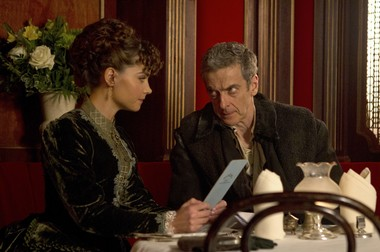 "Clara (Jenna Coleman) and The Doctor (Peter Capaldi) from ""Deep Breath,"" the series 8 premiere of Doctor Who."