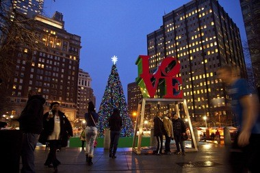 Love Park looks especially festive during the holiday season with a German-style Christmas Village to welcome holiday shoppers.