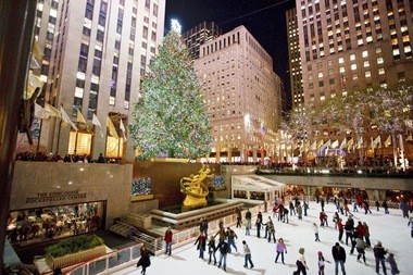 Danville's 85-foot Norway Spruce towers over Rockefeller Plaza and its skating rink in New York City.