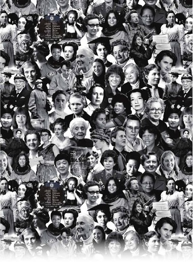 """The collage designed by Elly Zupko, which was used for her """"STEM: Women Are All Over It"""" shirt."""