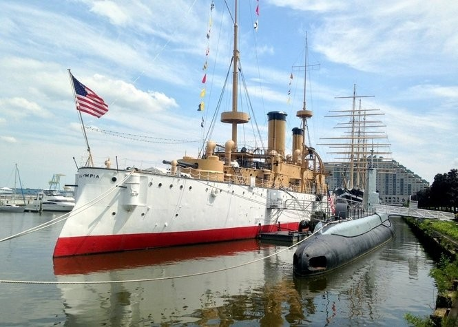 The USS Olympia sits near the Independence Seaport Museum and next to the Submarine Becuna.