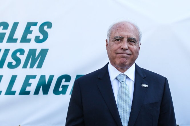 Philadelphia Eagles owner Jeffrey Lurie at the Eagles Autism Challenge announcement on Sept. 15. The challenge is a 5K walk/run and cycling event that will raise funds to help autism research and programs at Children's Hospital of Philadelphia, Drexel University and Jefferson Health. The first Eagles Autism Challenge will be May 19, 2018.