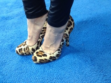 The Cooking Channel's Nadia G. sports her animal print stilettos at the Pennsylvania Farm Show.