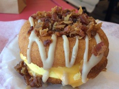 Duck Donuts has added a breakfast sandwich to its menu made with a doughnut.