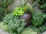 A flower pot can become a focal point in a landscaped bed.