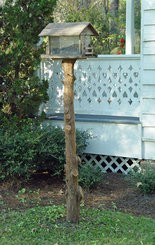 This former Christmas tree trunk was turned into a bird-feeder pole.
