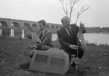State Reps. Robert Belfanti Jr. and Pete Wambach at the MIA-POW memorial at Riverfront and Washington streets, Nov. 10, 1981.