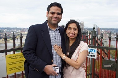Priya and Kirtan Patel got engaged on the the Duquesne Incline overlook with a magic trick.