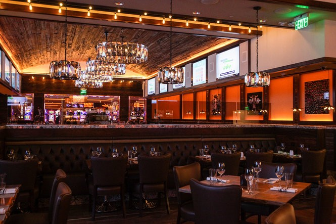 The new Liberty Bell Gastropub at Parx Casino in Philadelphia. The American restaurant boasts an extensive wine and beer list, stage for live performances and massive screens for watching sports.