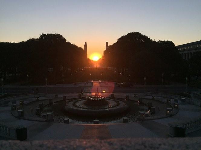The sun rises around 6 a.m. July 10 in Harrisburg facing the State Street Bridge.