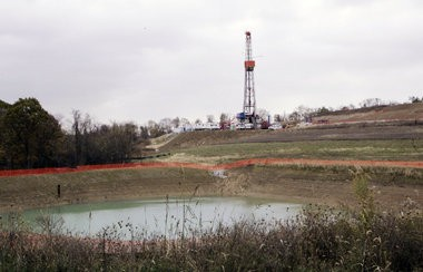 A drilling rig used to extract natural gas from the Marcellus Shale in Washington County, Pa.