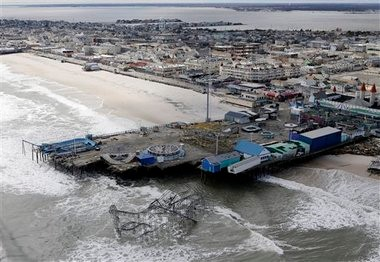An aerial photo shows the damage to an amusement park left in the wake of Superstorm Sandy, in Seaside Heights, N.J.