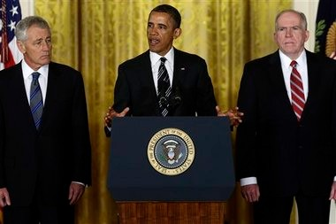 President Barack Obama nominated Deputy National Security Adviser for Homeland Security John Brennan, right, as the new director of the CIA, and former Nebraska Sen. Chuck Hagel, left, as the new defense secretary.