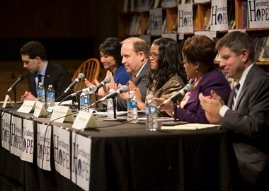 """Harrisburg Hope public forum """"From Newtown to Harrisburg"""" takes place at Midtown Scholar Bookstore with, from left: Moderator, Harrisburg Hope Pres. Alan Kennedy-Shaffer; Rep. Patty Kim, D-Dauphin; State Sen. Daylin Leach, D-Montgomery; Harrisburg Mayor Linda Thompson; Harrisburg School Superintendent Sybil Knight-Burney and First Assistant District Attorney for Dauphin County, Fran Chardo."""