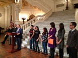 "Sen. Lloyd Smucker, R-Lancaster County, speaks at a Capitol Rotunda news conference about his ""Pennsylvania Dream Act"" legislation that would allow undocumented students to attend the state's public colleges and universities at in-state rates and be eligible for state grants."