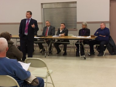 Financial consultant Mark Morgan speaks to Middletown's Third Ward residents on March 21. Sitting behind him are Police Chief Steven Wheeler, Borough Council President Christopher McNamara, and Borough Council members Suzanne Sullivan and John Brubaker.