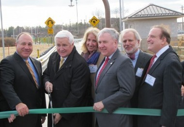 """Pennsylvania Turnpike Commissioner Pasquale """"Pat"""" Deon joins Gov. Tom Corbett, state state Sen. John Rafferty, R-Montgomery County, Turnpike Commission Chairman William Lieberman, and state Sen. Andy Dinniman, D-Chester County, at the Dec. 12, 2012 opening of a ramp linking Route 29 and the Pennsylvania Turnpike."""