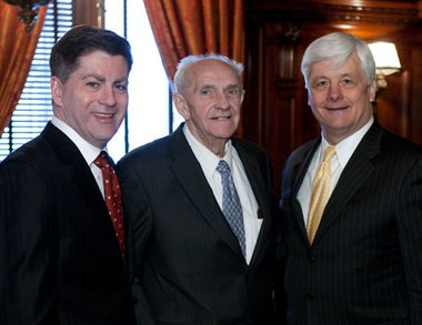 """Lt. Gov. Jim Cawley with Bucks County GOP Chairman Harry Fawkes and state Sen. Robert """"Tommy"""" Tomlinson, R-Bucks County, during Cawley's Jan. 18, 2011 swearing-in ceremony."""