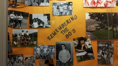 Kathy Kisner and John Rubisch, two faculty members at Susquenita High School, created a collage that celebrated the school's history from the 1980s.