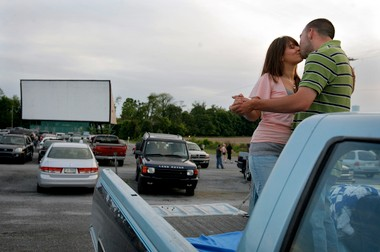 "Daniel Cassel and Laura Bierbower, of Hummelstown, kill time before the movie by slow dancing to ""Teenager in Love"" by Dion and the Belmonts on May 30, 2008, at Haar's Drive-in near Dillsburg. The drive-in recently purchased a new digital projection system for first-run movies."