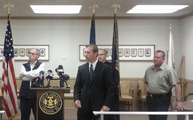 Lebanon County District Attorney Dave Arnold (center) along with county Coroner Jeffrey Yocum (left) and Lebanon city police, discussed a series of recent drug overdoses in the city.