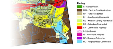 This map, taken from the West Hanover Township zoning map, shows several of the parcels available for development along the corridor. While portions of the area remain zoned for rural agriculture, there are requests for additional residential zoning.