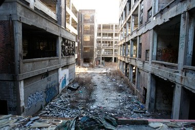 FILE - This Jan. 28, 2010 photo shows the abandoned 3.5-million-square-foot Packard car plant in Detroit. (AP Photo/Carlos Osorio)
