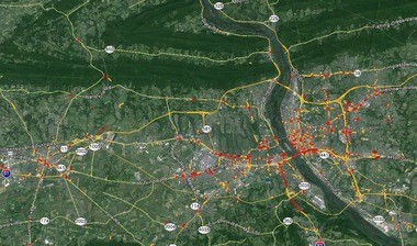 Using data collected anonymously from GPS units, transportation planners can generate maps like this one, which show congestion on area roads.
