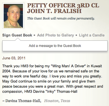 """As recently as May, people were still signing the """"guest book"""" on the legacy.com page of John Fralish, a Navy petty officer from New Kingstown who was killed in 2006 while serving in Afghanistan."""