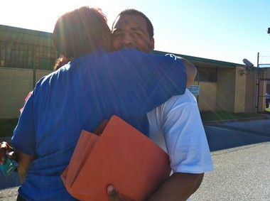 Kariem Eley hugs his sister Jordana moments after walking out of the Dauphin County Prison Friday afternoon.