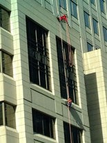 A window washer was rescued from a building on Second Street in Harrisburg, Sept. 25, 2013.