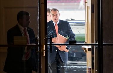 Speaker of the House John Boehner, R-Ohio, arrives at the Capitol in Washington, Saturday, Oct. 5, 2013. (AP Photo/J. Scott Applewhite)