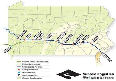 This map shows the Mariner East pipeline which extends from Delmont to Marcus Hook as well as a number of the pipeline's feeder lines. A former oil pipeline, the Mariner East is being repurposed to transport natural gas products east.