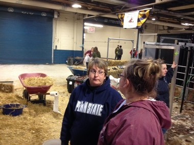 Josie Riser speaks to her daughter at the Pennsylvania Farm Show on Jan. 8, 2014.