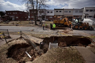 March 20, 2014 sinkhole and water main break in S. 14th St.