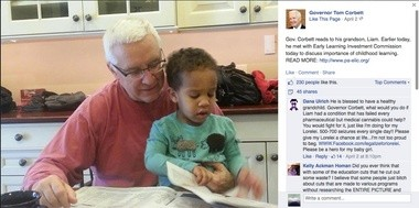 This screen shot from Gov. Tom Corbett's Facebook page shows him pictured with grandson Liam and Berks County medical marijuana activist Dana Ulrich pleading with the governor to legalize pot to help her 6-year-old daughter who suffers form 500-700 seizures each day.