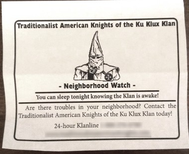 Neighbors along Ridge Road in Fairview Township, York County, woke up to this Ku Klux Klan flyer on their doorsteps Friday.
