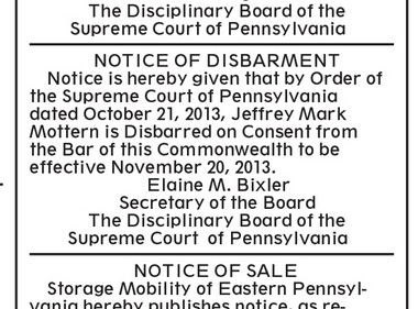 The disbarment ad, as it appeared in the Oct. 29 issue of The Patriot-News.
