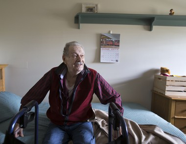 Sam Raup, D-Day veteran, recalls his time in the Navy during World War II from his room at Arden Courts of Susquehanna. Joe Hermitt, PennLive