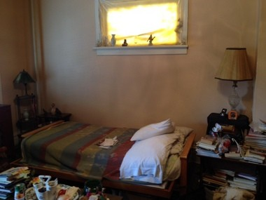 Peggy Swann's bedroom was too cluttered for her to use, her roommate David Barksdale said, so she slept on this mattress in the front room.
