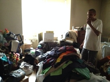 David Barksdale showed how cluttered some rooms became at the home he shared with Peggy Swann, 83. Barksdale said he had to secretly throw items away to try to clean up the house.