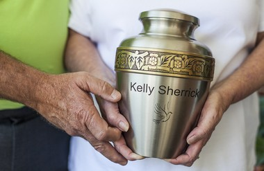 What worries everyone about heroin is the increasing number of users. But where it hits home are in tragic stories such as this one, and they are multiplying by the month. This is the urn of Kelly Sherrick, held by her parents. Kelly died of an heroin overdose at age 31.