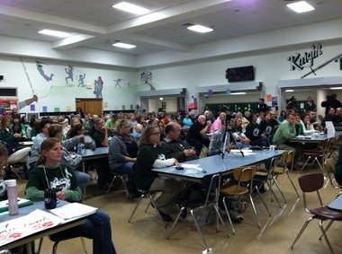 Parents at the Fairfield Area School Board meeting Oct. 20.