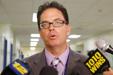 Dr. Richard Labbe, Sayreville superintendent of schools, speaks to the media about the cancellation of the season. (William Perlman   NJ Advance Media for NJ.com)